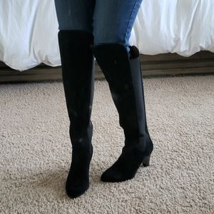 Adrienne Vitandi black suede over the knee boots